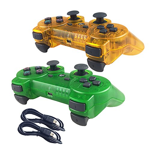 Sony Phone Faceplates (Nesada Wireless Bluetooth Controller For PS3 Double Shock (Clear Orange and Clear Green))