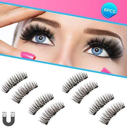 Dopoo Natural Fake Magnetic Eyelashes, 3D Three Magnets Ultra Thin Soft, Glamorous, Natural Look, No Glue, Handmade Reusable False Eyelashes Fake Lashes Extension (Black) 4 Pair/8Pcs