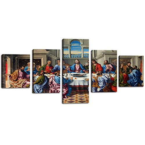 Jesus Last Supper - The Last Supper Wall Art Picture for Living Room Christ Cuadro De La Ultima Cena Canvas Painting 5 Pieces Famous Painting Poster Print Wooden Artwork Home Bedroom Office Church Decor (50''Wx24''H)
