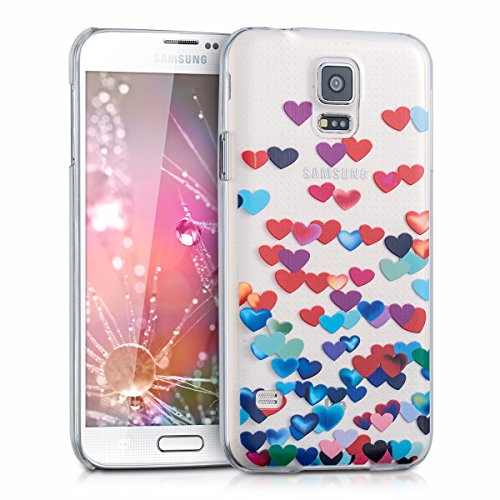 kwmobile Crystal Case for Samsung Galaxy S5 / S5 Neo / S5 LTE+ / S5 Duos with Design Confetti Hearts - transparent Protection Case Cover clear in red blue (Raining Hearts Rhinestones)