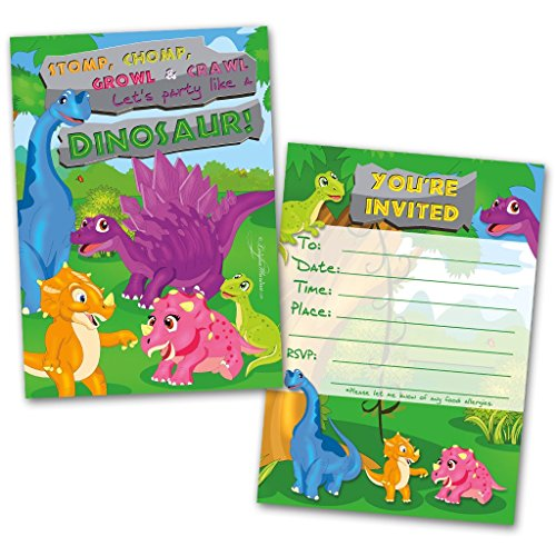 Party Invitation Cards | 20 Cards with 20 Envelopes | Dinosaur Themed | Made for Kids | Flat Style | Colorful Design | Birthday Invitations | Party Invitations | Invitation Card | Birthday Party Invitations