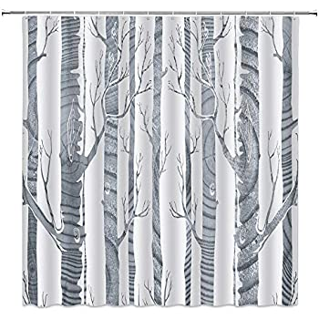 Hand Draw Birch Trees Waterproof Fabric Home Decor Shower Curtain Bathroom Mat