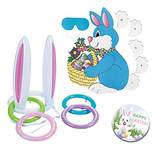 Easter Party Games for Home, School, Daycare, Church, Class: 2 Awesome Easter Themed Party Games include an Inflatable Bunny Ear Ring Toss and Pin the Tail on the Easter Bunny