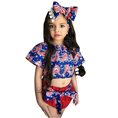 Sunyastor 3PCS Toddler Baby Girl Kid 4th of July Star Print Tops+ Shorts +Headband Outfits Sets for Independence Day Blue ()