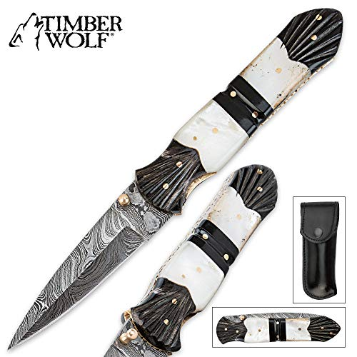K EXCLUSIVE Timber Wolf Damascus Mother of Pearl & Buffalo Horn Folding Pocket Knife