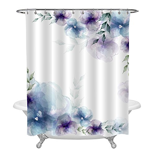 MitoVilla Retro Pattern Spring Floral Themed Shower Curtain, Blue Purple Flowers and Green Leaves on White Background Bathroom Decorations, Nature Gifts Birthday Presents for Adults, 72 inches Long