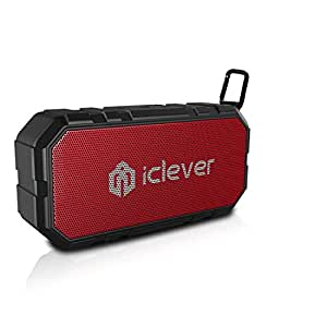 [Ready for Outdoor] iClever BoostSound BTS06 Portable Bluetooth Speaker with Mic, BT4.2, IPX5 Splashproof, Shockproof, Louder Volume 10W with Clip, Ideal for Hiking, Camping, Red