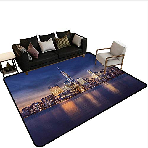 (Indoor Floor mat,New York City Manhattan After Sunset View Picture with Skyline Reflection River 6'6