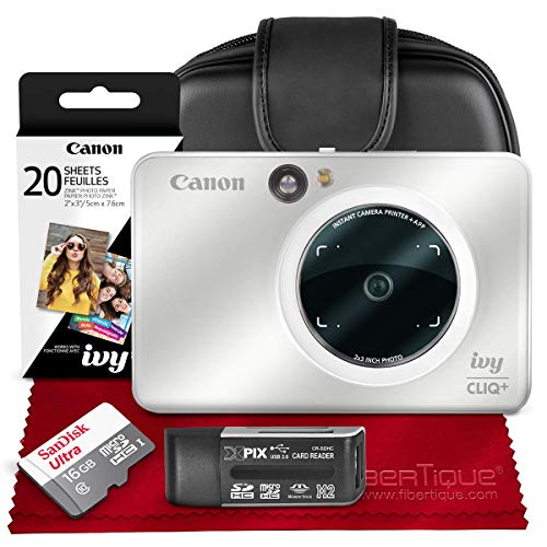 Canon Ivy CLIQ+ Instant Camera Printer (Pearl White) + 30 Sheets Photo Paper + 16GB SD Card + Case + Premium Accessories Bundle (USA Warranty)