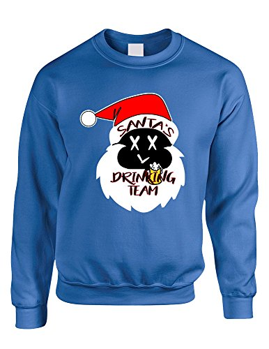 Allntrends Adult Sweatshirt Santa's Drinking Team Fun Ugly Xmas Sweater (M, Royal Blue) ()
