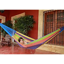 Sunnydaze Hand-Woven 2-3 Person Mayan Hammock with Stand, Family Size, Multi-Color, 400 Pound Capacity