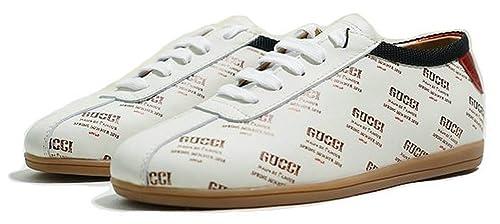 Gucci Guccy Falacer White Star Logo Og270 9069 Blanco Cuero Zapatillas Hombre Mujer: Amazon.es: Zapatos y complementos
