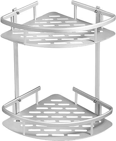 2 niveles de aluminio estante adhesivo baño ducha rack con gancho colgador para champú, estante baño sin tornillos: Amazon.es: Bricolaje y herramientas