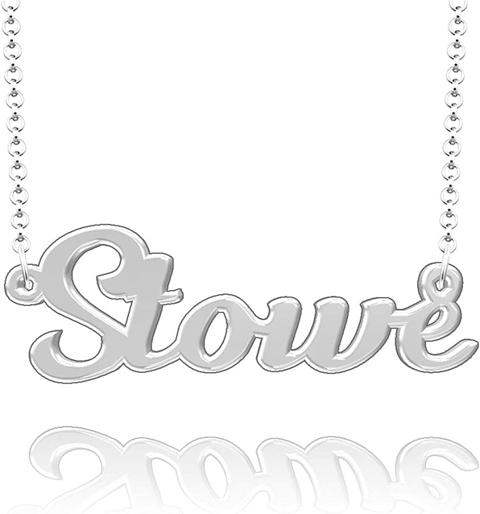 LoEnMe Jewelry Personalized Stowe Name Necklace Stainless Steel Plated Custom Made of Last Name Gift for Family