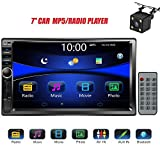 "Regetek Car Rear View Camera + Double Din 7"" Touchscreen In Dash Stereo Car Receiver Audio Video Player Bluetooth FM AM Radio Mp3 /TF/ USB/ AUX-in/Subwoofer/Steering wheel controls + Remote Control"