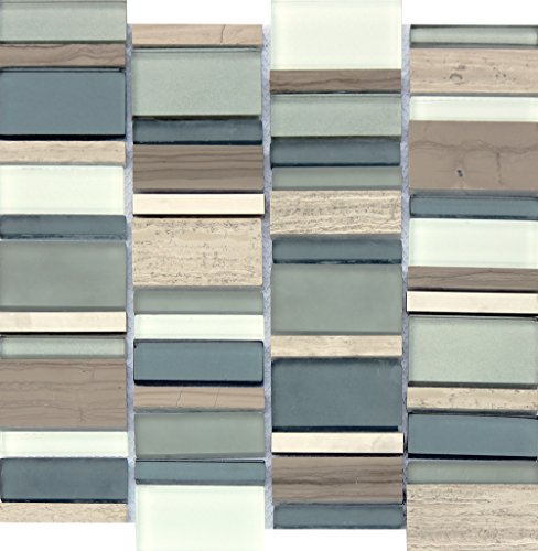 - Paradise Bay Mounted Random Sized Glass Stone Metal Blend Mesh Polished and Glossy Mosaic in Multi