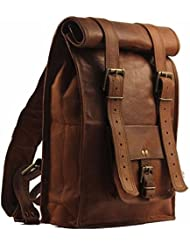 Urban Dezire Mens Leather Vintage Roll On Laptop Backpack Rucksack One Size Brown