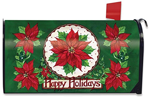 Happy Holidays Poinsettia (Briarwood Lane Happy Holidays Poinsettias Christmas Magnetic Mailbox Cover Floral Holiday)