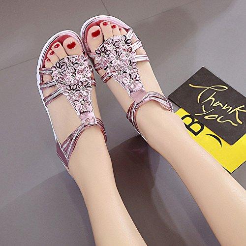 Elevin (tm) Dames Zomer Mode Peep Toe Wedstrijd Vrije Tijd Dikke Zolen Platte Sandalen Schoenen Roze