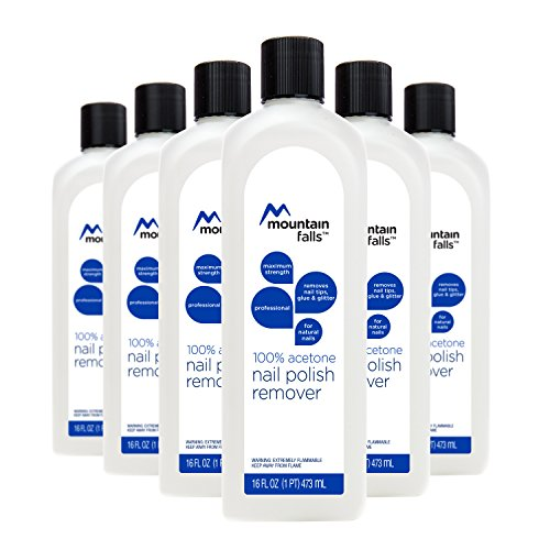 (Mountain Falls 100% Acetone Nail Polish Remover for Natural Nails, Maximum Strength, 16 Fluid Ounce (Pack of 6))