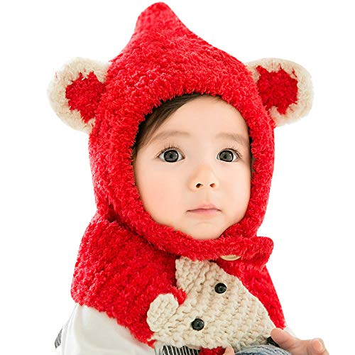 MONsin Christmas, Kids Knitted Hat Scarf Two Piece Set Baby Toddler Boy Girl Knitted Children's Lovely Soft Hat Scarf (D) from MONsin Baby Hats
