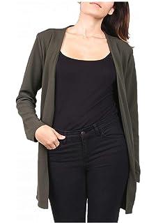 dmarkevous - Veste Blazer Femme Longue Kaki sans col Double Zip au Niveau  des Poches - d257ada4940c
