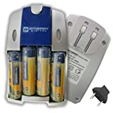 Synergy Digital AA NiMH 2800mAh Rechargeable Batteries with Charger (Pack of 4 Batteries)