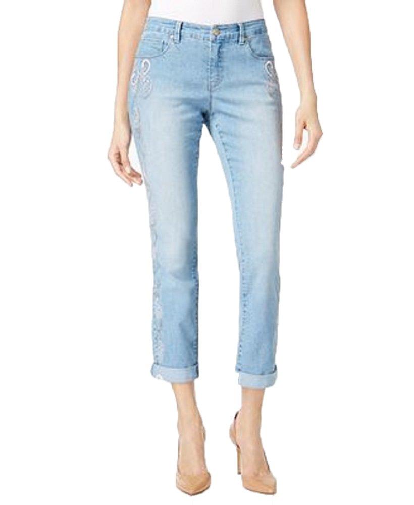 Style & Co. Womens Cuffed Paisley Boyfriend Jeans Blue 6