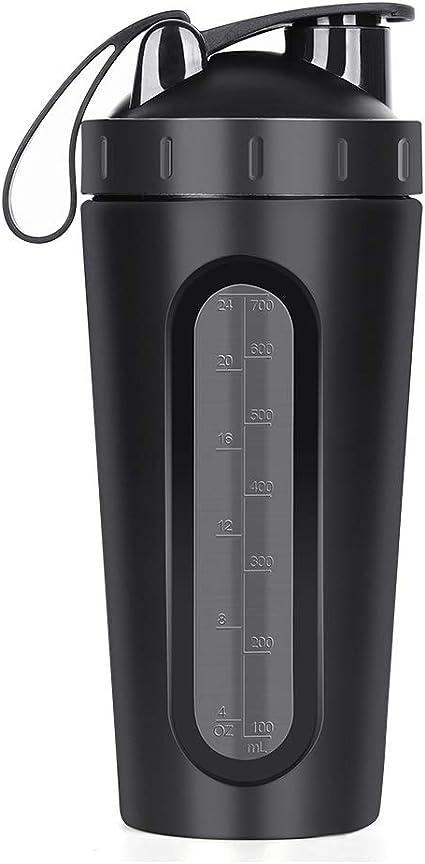Shaker de Proteína en Polvo Proteína Coctelera de Acero Inoxidable, 700 ml Negro