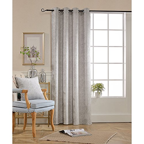 BOKO Chenille Grommet Window Panel Curtains, 52' X 84', Curtains for Bedroom, Curtains for Livingroom, Comes with a Pillow Cover in the Same Fabric - 84' Window Panel
