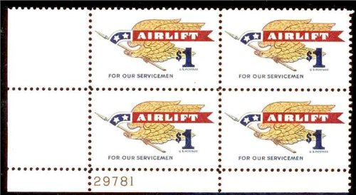 $1 Airlift U.S. Postage Stamp Plate Block of Four Stamps Scott 1341 by - Mail Overseas Usps