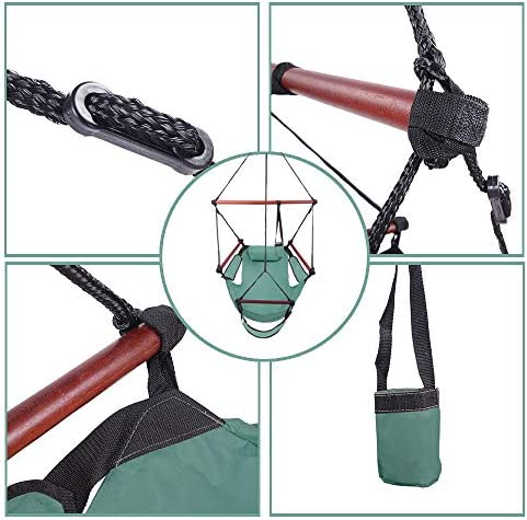 YUN JIN 600D Nylon Hanging Seat,Well-Equipped S-Shaped Hook Hanging Hammock Chair,High Strength Assembled Hanging Chairs for Patio Backyard Garden Balcony Porch Outdoor (Green)