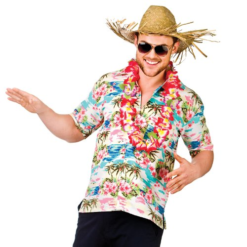 Hawaii Shirt - Pink Flower & Palm Trees (XL) Fancy Dress Stag Costume