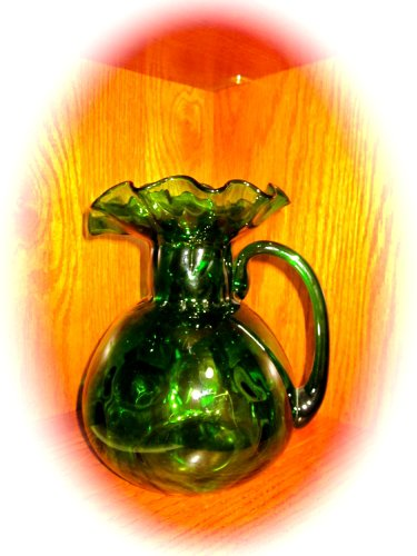 Vintage Green Hand Blown Glass (Appears to be Fenton) Thumbprint/Coin Dot Pitcher with Ruffled Spout (Large - 8.5