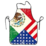 TE-REXQ Mens Mexico Mexican USA America Flag Kitchen Cooking Chef Baking Aprons With Adjustable