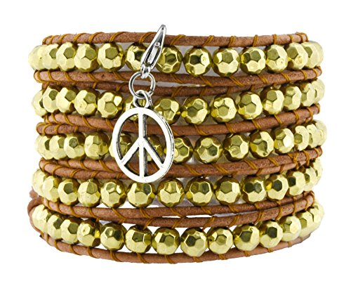 Hippie Peace Belt (Long Bohemian Faceted Gold Tone Beaded Wrap Around Leather Bracelet with a Charm (Peace Sign))