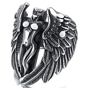 Men's Large Stainless Steel Ring Band Silver Tone Black Cross Angel Wing Wedding Size8