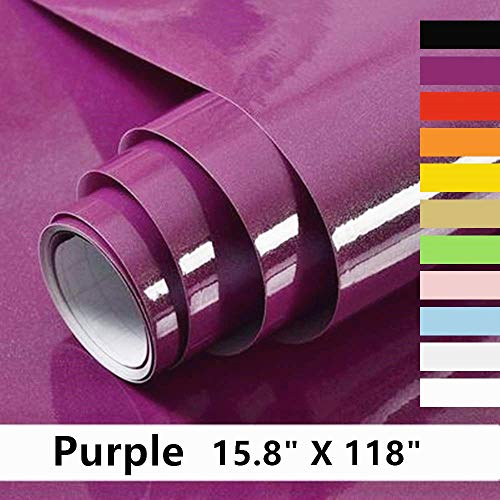 Home Dr Purple Contact Paper Decorative Self Adhesive Vinyl Film Purple Wallpaper for Furniture Cabinet Countertop Shelf Paper The Latest Upgrade Purple Contact Paper 15.8