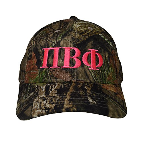 Pi Beta Phi Sorority Pink Letter Design Woods Mossy Oak Camouflage Hat Cap with Pink Thread Baseball Hat Camo Pi Phi (Youth Camo Stocking Cap)
