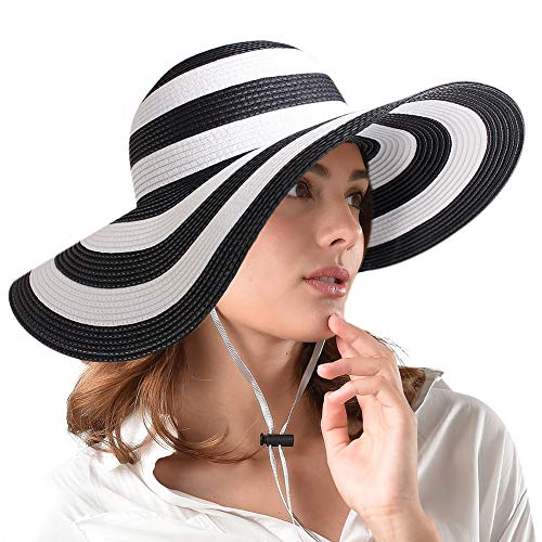FURTALK Women Wide Brim Sun Hat Summer Beach Cap UPF50 UV Packable Straw Hat for Travel (Medium Size (22.1''-22.6''), Adult WideBrim Mix Blackwhite)