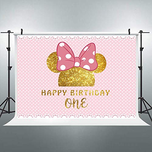 Riyidecor 1st Birthday Backdrop Mouse Polka Dots Pink Princess Girl Photography Background 7x5 Feet Newborn Decoration Celebration Props Party Photo Shoot Backdrop Blush Vinyl Cloth]()