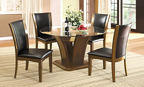 HOMES: Inside + Out IDF-3710RT Lissandra Pedestal Round Dining Table, Dark Cherry