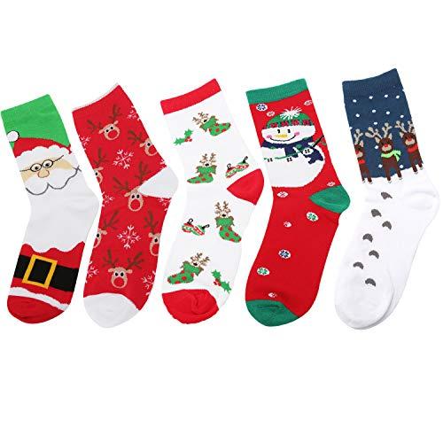 (Women Socks Christmas Winter Crew Socks Festival Stockings with Gift Box (Pack of 5 multicolor-4))