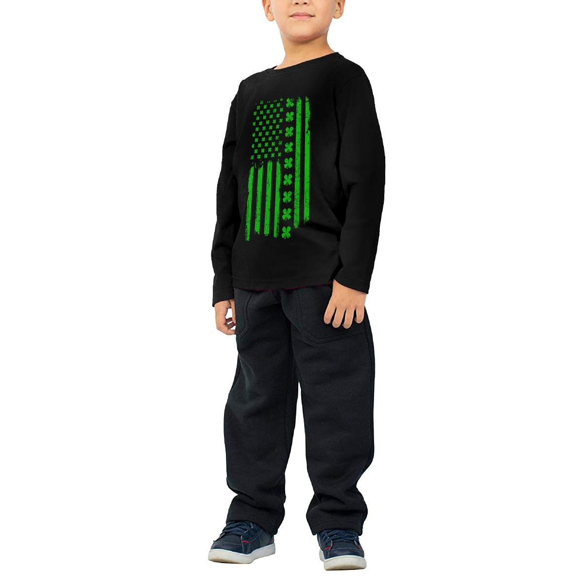 HADYKIDSLOVE Irish American USA Flag Kids T-Shirt Long Sleeve Boys Girls T-Shirt