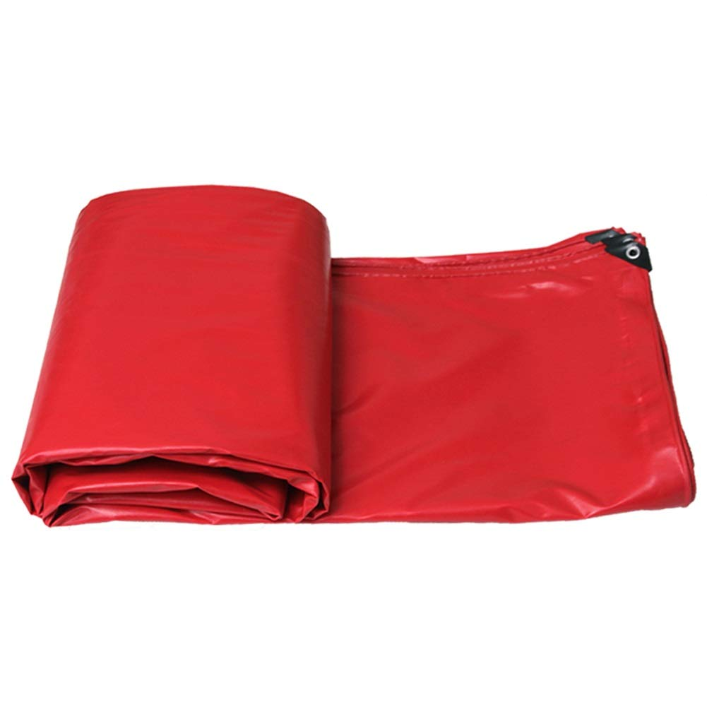 SYDDP Durable Waterproof Tarpaulin,Outdoor Canvas, Double-Sided Waterproof,Thickness 0.5mm,Weight 520g Per Square Meter,Five Colors Optional (Color : Red, Size : 10m×8m)