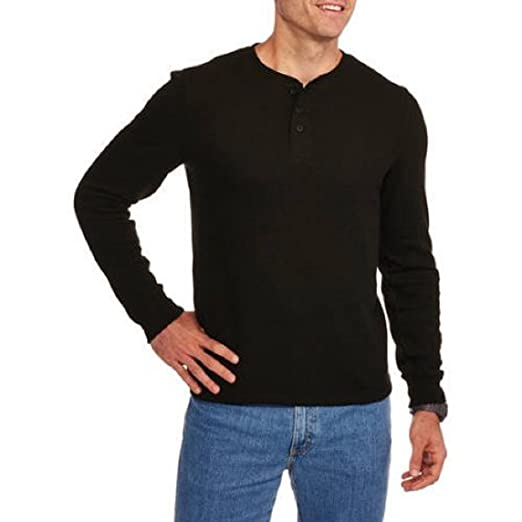 01a41ddf Faded Glory Men's Long Sleeve Waffle Thermal Henley Top / Shirt (M, Black  Soot