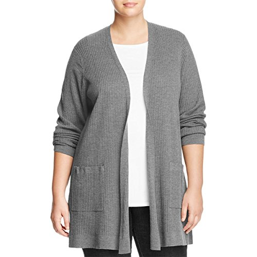 Eileen Fisher Womens Plus Wool Ribbed Cardigan Sweater Gray (Eileen Fisher Wool Cardigan)