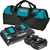 Makita BL1850B2DC2 X 18V LXT Lithium-Ion Battery & Dual Port Charger Starter Pack (5.0Ah)