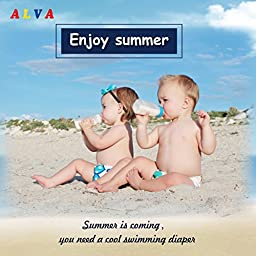 Alva Baby Swim Diapers Large Size 2pcs Pack One Size Reuseable &Adjustable 0-36 mo.Size 18-55lbs ZSW09-10