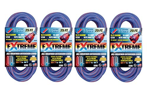 - U.S. Wire 25-Foot Blue Cold Weather Extension Cord with Lighted Plug (4-Pack)